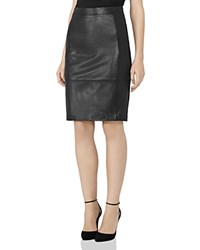 Reiss Avril Leather Paneled Pencil Skirt Black
