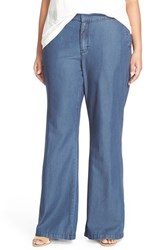 Plus Size Women's Melissa Mccarthy Seven7 Lightweight Denim Flare Leg Pants Over Dye