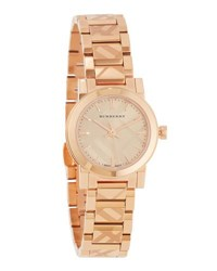 Burberry 26Mm Rose Golden Check Stamped Bracelet Watch Pink