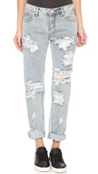 One Teaspoon Awesome Baggies Distressed Jeans Blue Malt