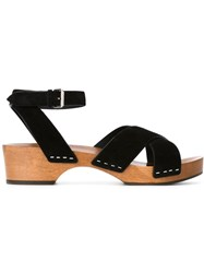 Saint Laurent Flat Platform Sandals Black