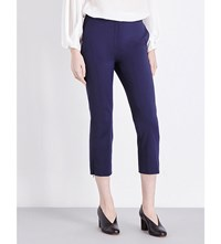 Sportmax Cropped Mid Rise Cotton Blend Trousers Midnight Blue