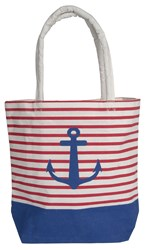 Batela Blue And Red Striped Anchor Bag White