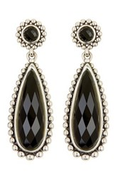 Lagos Sterling Silver Maya Onyx Large Teardrop Earrings Metallic