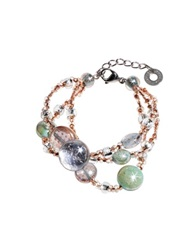 Antica Murrina Veneziana Redentore 1 Pink And Green Murano Glass Drops And Silver Leaf Bracelet