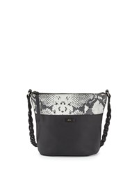 Foley Corinna Cable Embossed Trim Leather Bucket Bag Black Diamond Snake