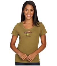 Life Is Good Tune In Mountains Crusher Scoop Tee Woodland Green Women's Short Sleeve Pullover
