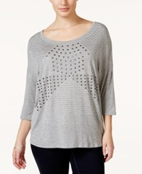 Belldini Plus Size Studded Scoop Neck Top Charcoal