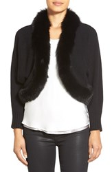 Women's Sofia Cashmere Genuine Fox Fur Trim Crop Cashmere Cardigan Black