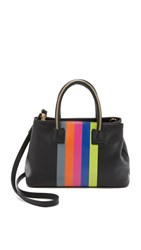 Milly Logan Stripe Small Tote Black
