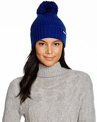 Michael Kors Waffle Stitch Hat With Pom Pom 100 Bloomingdale's Exclusive Sapphire