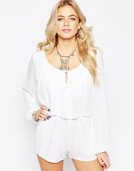 Neon Rose Boho Playsuit With Floral Embroidery White