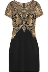 Marchesa Notte Metallic Embroidered Tulle And Stretch Silk Mini Dress Black