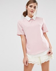 Fashion Union 2 In 1 Short Sleeve Shirt Pink Grey