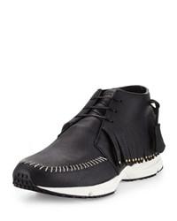 Buscemi Fringed Leather Gladiator Sneaker Black