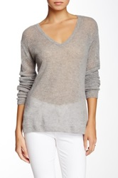 Velvet By Graham And Spencer Honeycomb Knit V Neck Cashmere Sweater Gray