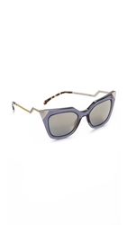 Fendi Statement Sunglasses Blue Grey Transparent Bronze