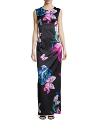 Milly Dita Butterfly Print Column Gown Multi