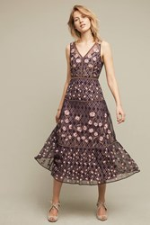 Anthropologie Tansey Tulle Midi Dress Dark Purple