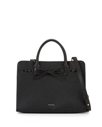 Mansur Gavriel Tumbled Leather Sun Tote Bag Black Canvas