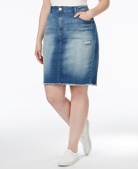 Jessica Simpson Plus Size Dark Wash Ripped Denim Skirt Aurora