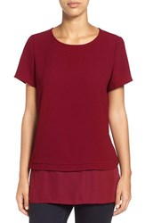 Petite Women's Gibson Mixed Media Layered Look Top Wine