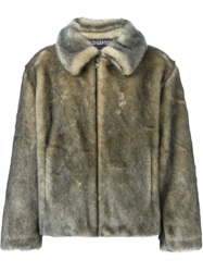 Gosha Rubchinskiy Artificial Fur Jacket Nude And Neutrals