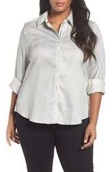 Foxcroft Plus Size Women's Print Cotton Sateen Shirt