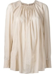 No21 Ruched Detail Long Fit Blouse Pink And Purple