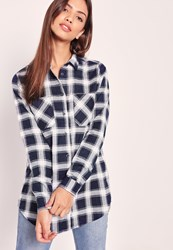 Missguided Brushed Checked Pocket Front Shirt Navy