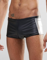 Asos Swim Hipster Trunks In Wet Look Fabric With Metallic Silver Side Panels Black