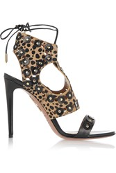 Aquazzura Rebel Studs Leopard Print Calf Hair And Leather Sandals Animal Print