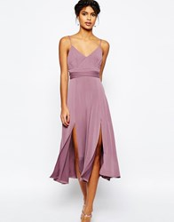 Asos Cami Tie Waist Double Split Midi Dress Grape Purple