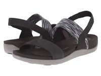 Rockport Truwalkzero Iii Stretch 2 Band Sandal Black Embossed Nubuck Women's Sling Back Shoes