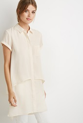 Forever 21 Layered Buttoned Shirt Dress Champagne