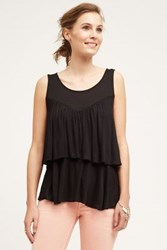 Anthropologie Double Ruffle Tank Black
