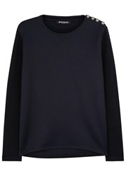 Balmain Two Tone Jersey Sweatshirt Navy