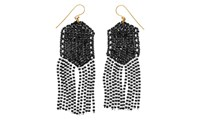 Whistles Made Beaded Statement Earrings Black And White