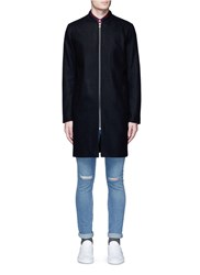 Topman Felted Long Bomber Jacket Black
