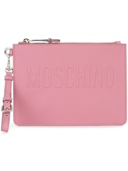 Moschino Zip Clutch Pink And Purple