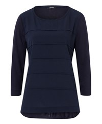 Olsen Chiffon Panel Top Navy