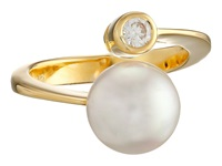 Majorica 10Mm Pearl Cz Wrap Ring Gold White Ring Multi