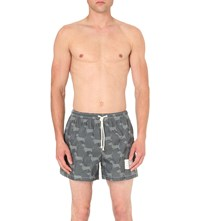 Thom Browne Hector Print Woven Swim Short Navy