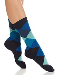 Hue Argyle Crew Socks Catalina Blue