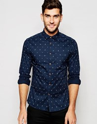 Asos Skinny Shirt With Anchor Print In Long Sleeve Navywhite