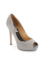 Badgley Mischka Mesh Leather Peep Toe Pumps Pewter Metal