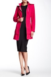 Betsey Johnson Hooded And Zippered Trench Coat Pink