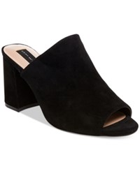 Steve Madden Steven By Women's Fume Peep Toe Mules Women's Shoes Black Suede
