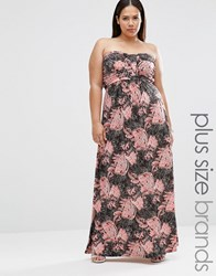 Club L Plus Maxi Bandeau Dress In Paisley Print Multi
