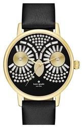 Women's Kate Spade New York 'Metro Night Owl' Leather Strap Watch 33Mm